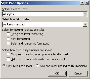 Style Pane Options