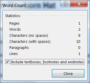 Word Count Dialog
