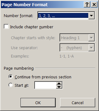Page Number Format