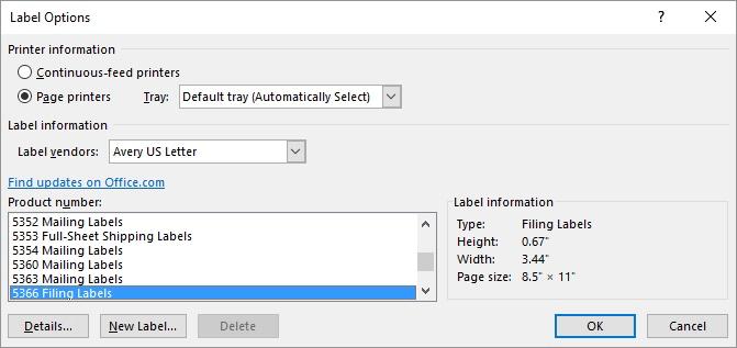 label - options