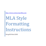 Using MLA with Word 2003