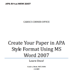 Using APA style with Word 2007