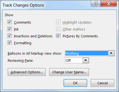 2013 Track Changes Options