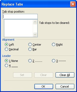 Replace Tabs