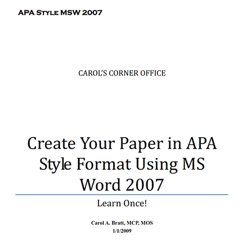 Formatting a paper in APA style